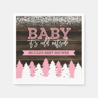 Baby It's Cold Outside Winter Girl Baby Shower Paper Napkin