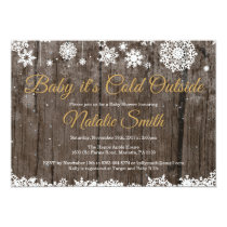 Baby Its Cold Outside Winter Gold Baby Shower Invitation