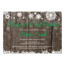 Baby Its Cold Outside Winter Green Baby Shower Invitation