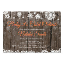 Baby Its Cold Outside Winter Orange Baby Shower Invitation