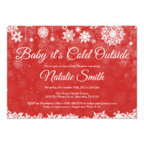 Baby Its Cold Outside Winter Red Baby Shower Invitation