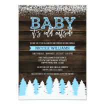 Baby It's Cold Outside Winter Snow Boy Baby Shower Card