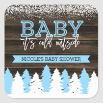 Baby It's Cold Outside Winter Snow Boy Baby Shower Square Sticker