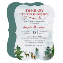 Baby Its Cold Outside Winter Woodland Baby Shower Invitation