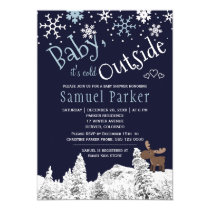 Baby its cold outside wonderland winter boy shower card