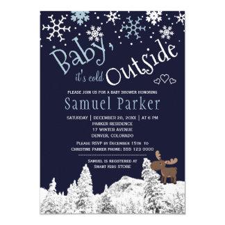 Baby its cold outside wonderland winter boy shower card