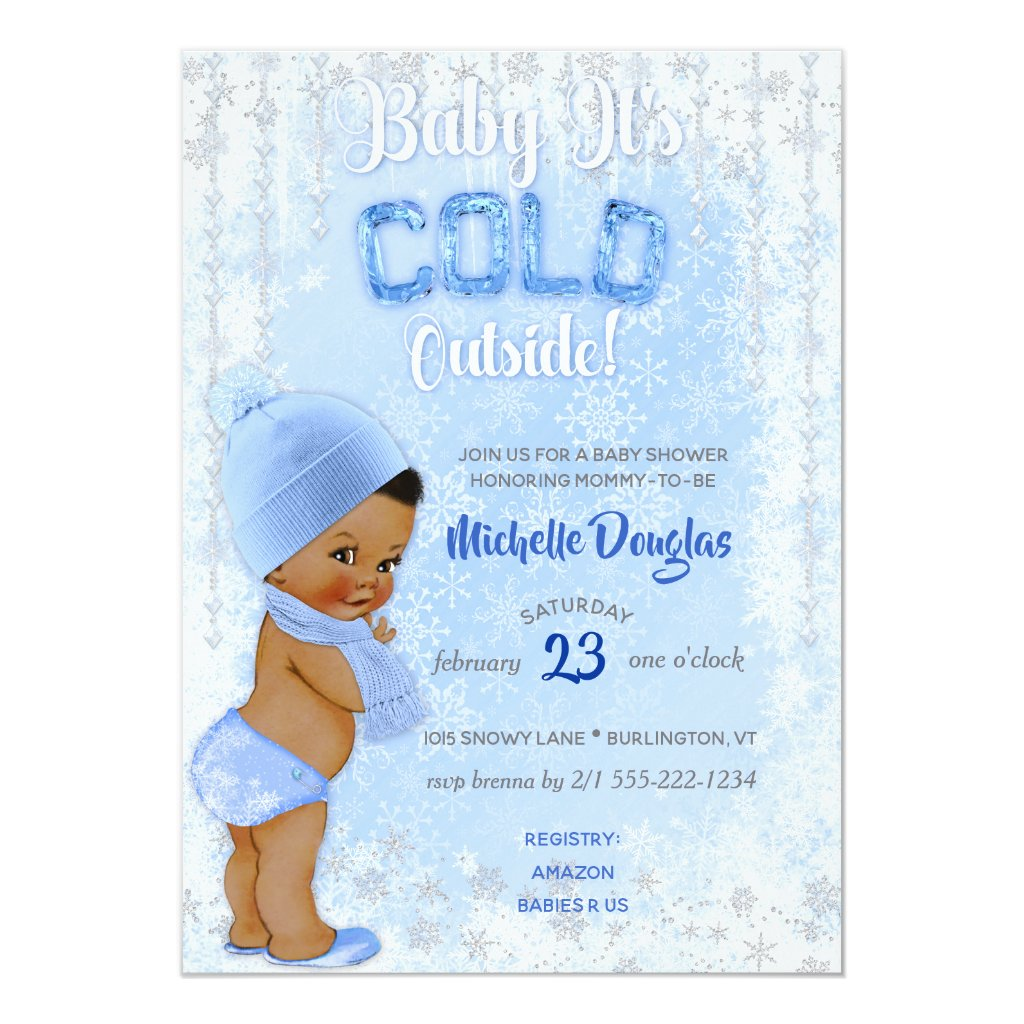 Baby It's Cold Snowflake Blue Ethnic Boy Shower Card