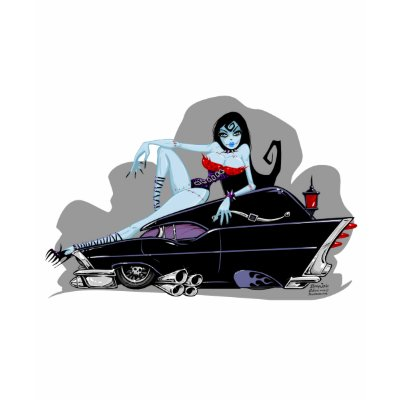 dead sexy zombie girl baby jane hanging out in a pinup pose on her hearse