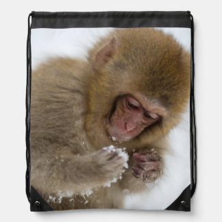 Baby Japanese Macaque | Snow Monkey Drawstring Bag
