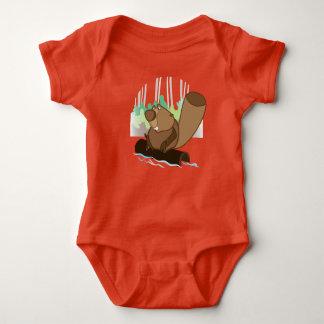Baby Jersey Bodysuit, Orange, with beaver Baby Bodysuit