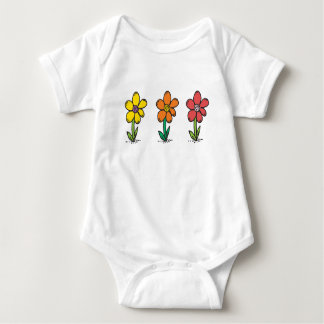 Baby Jersey Bodysuit with colored flowers