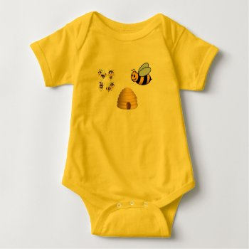 Baby Jersey Bodysuit With Snap Closure==bees by CREATIVEforKIDS at Zazzle