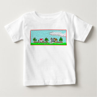 Baby jersey t-shirt with texturized barn.