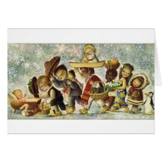 Baby Jesus and Children vintage Christmas 1964 Card