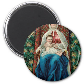 Baby Jesus and Mary on Christmas Magnet