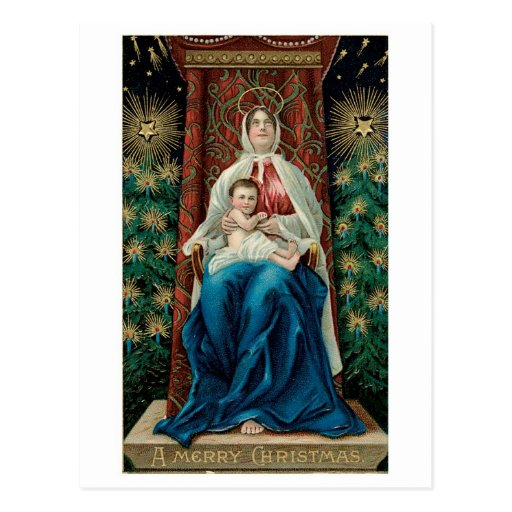 Baby Jesus and Mary on Christmas Post Cards