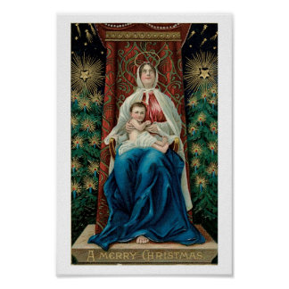 Baby Jesus and Mary on Christmas Poster