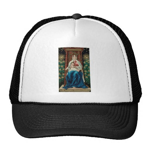 Baby Jesus and Mary on Christmas Trucker Hat