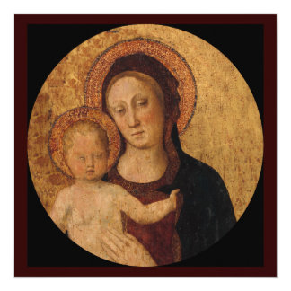 """Baby Jesus and Mary Under and Arch 5.25"""" Square Invitation Card"""