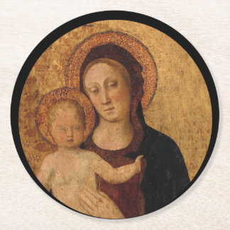 Baby Jesus and Mary Under and Arch Round Paper Coaster