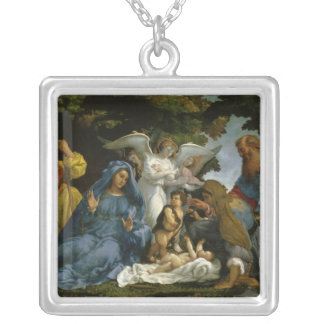 Baby Jesus and Mary with the Saints Square Pendant Necklace