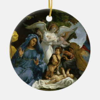 Baby Jesus and Mary with the Saints Double-Sided Ceramic Round Christmas Ornament