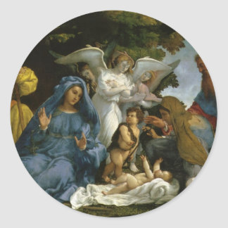 Baby Jesus and Mary with the Saints Classic Round Sticker