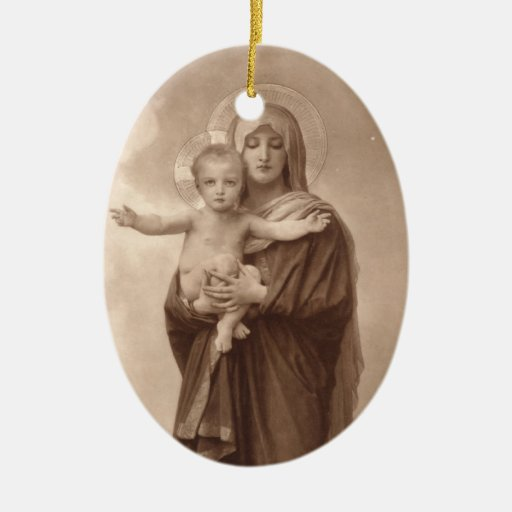 Baby Jesus and Mother Mary Christmas Ornaments