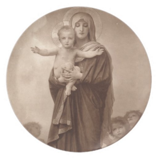 Baby Jesus and Mother Mary Plate