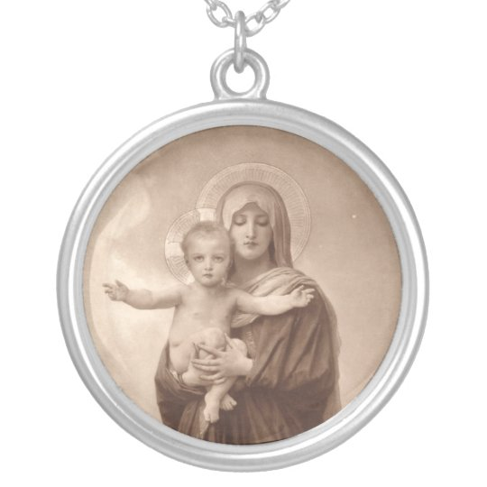 Baby Jesus and Mother Mary Silver Plated Necklace