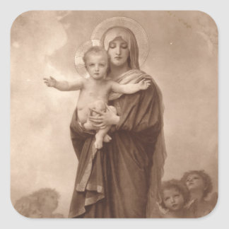 Baby Jesus and Mother Mary Square Sticker