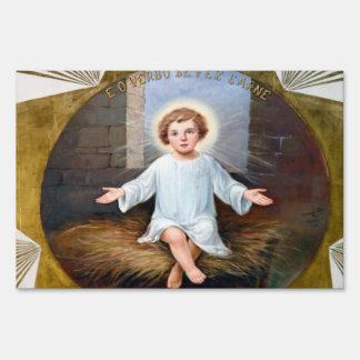Baby Jesus decorative artwork Yard Sign