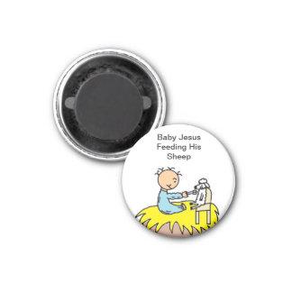 Baby Jesus Feeding His Sheep Magnet