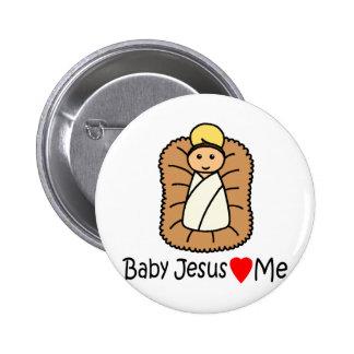 Baby Jesus Heart (Loves) Me Pinback Button