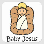 Baby Jesus In A Manger Sticker