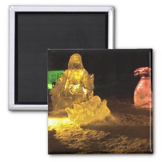 Baby Jesus in ice 2 Inch Square Magnet