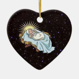 baby jesus in manger ceramic ornament