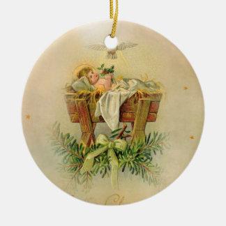 Baby Jesus in Manger Dove Christmas Ornament