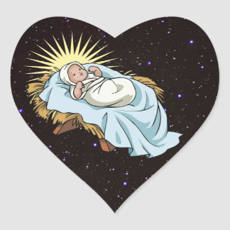 baby jesus in manger heart sticker