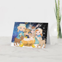 Baby Jesus in  manger Holiday Card