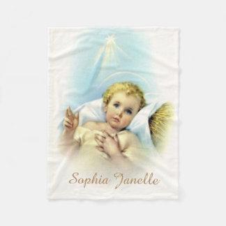 Baby Jesus in Manger Shining Star Halo Fleece Blanket