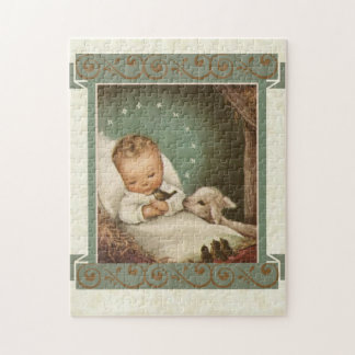 Baby Jesus in Manger with lamb & bird Jigsaw Puzzle