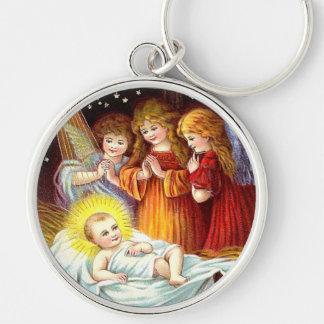 Baby Jesus Silver-Colored Round Keychain