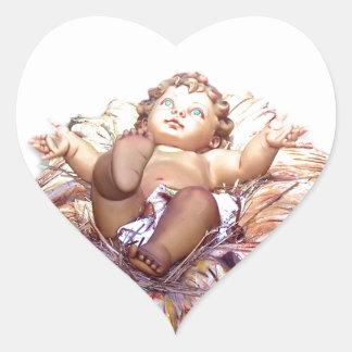 Baby Jesus Manger Nativity Heart Sticker