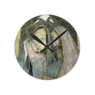 Baby Jesus Mary Joseph Religious Christmas Xmas Round Clock