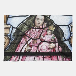 Baby Jesus nativity stained glass window Kitchen Towel