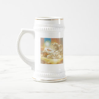 Baby Jesus Nativity with Lambs and Donkey Beer Stein
