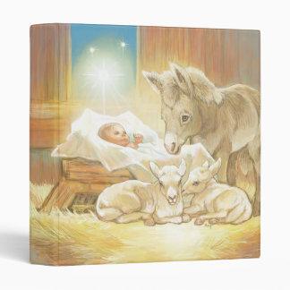 Baby Jesus Nativity with Lambs and Donkey Vinyl Binder