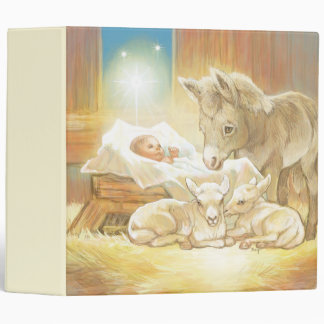 Baby Jesus Nativity with Lambs and Donkey 3 Ring Binders