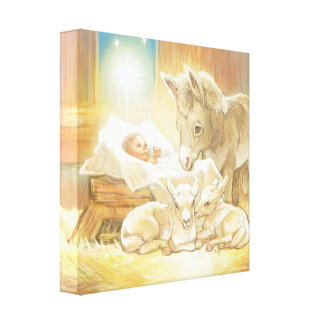 Baby Jesus Nativity with Lambs and Donkey Stretched Canvas Prints